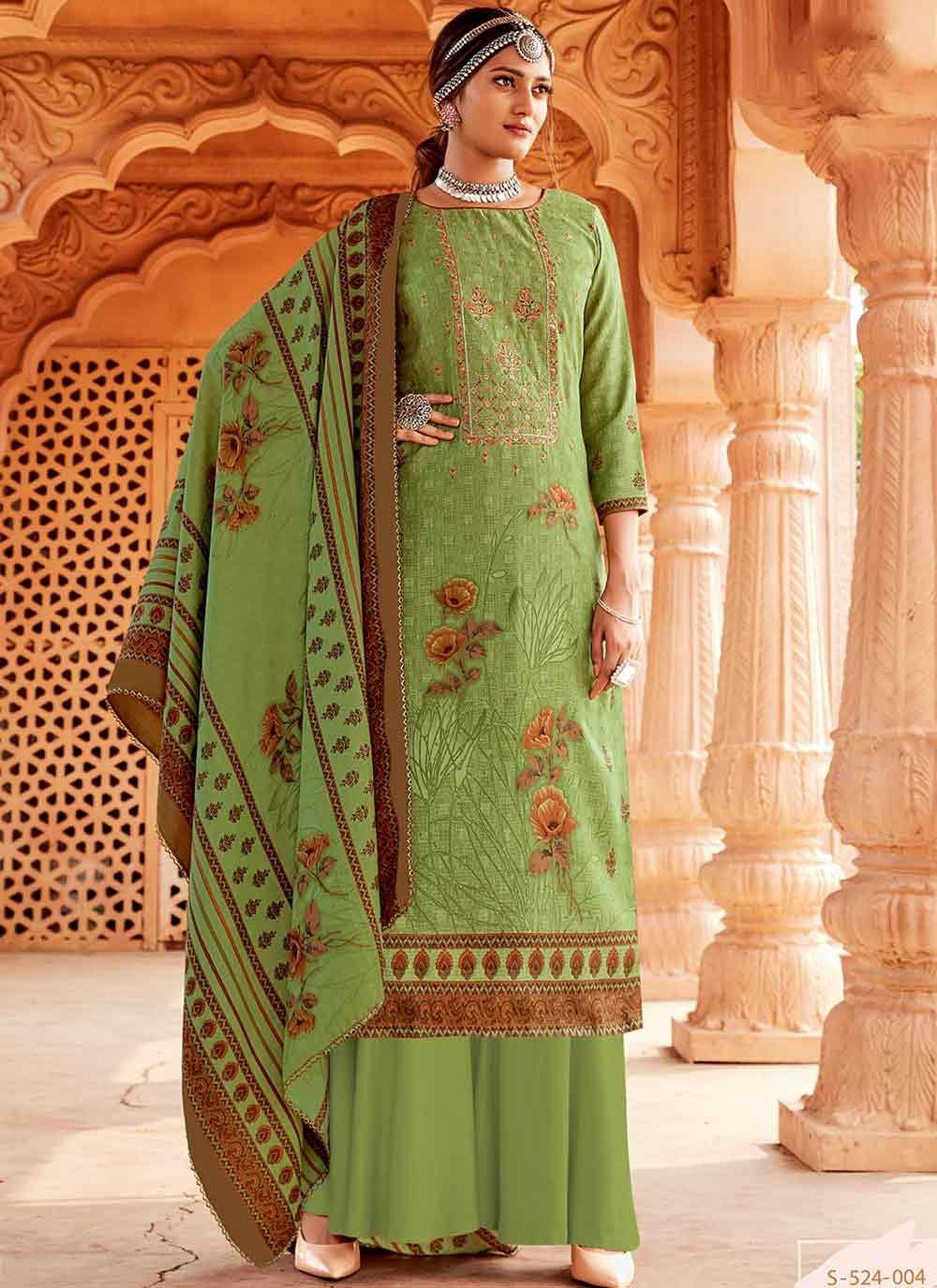 Embroidered Green Salwar Kameez