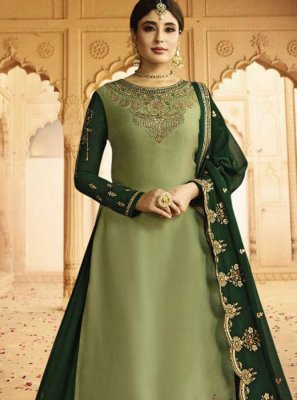 Embroidered Green Silk A Line Lehenga Choli
