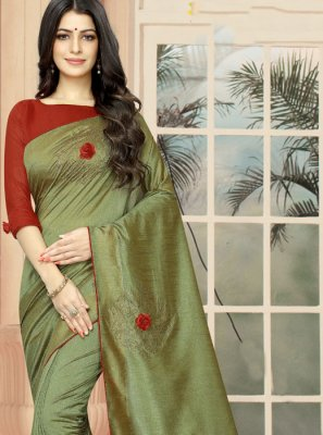 Embroidered Green Silk Classic Saree