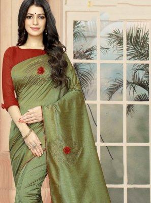 Embroidered Green Silk Classic Saree