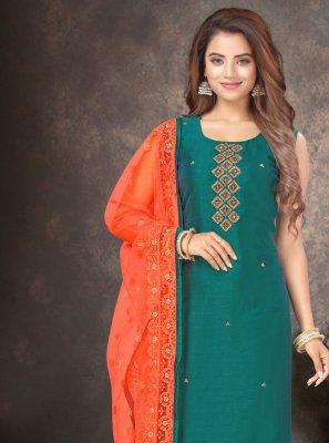 Embroidered Green Silk Designer Salwar Kameez