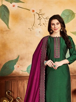 Embroidered Green Silk Designer Salwar Suit