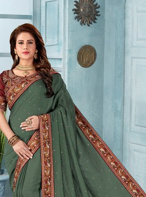 Embroidered Green Silk Designer Saree