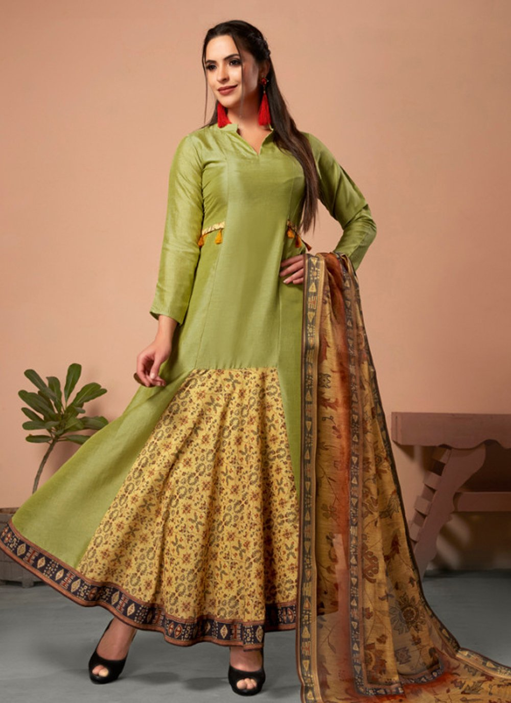 Embroidered Green Silk Party Wear Kurti