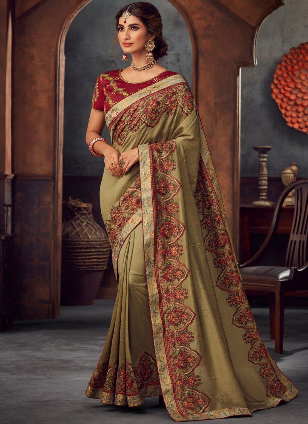 Embroidered Green Silk Saree