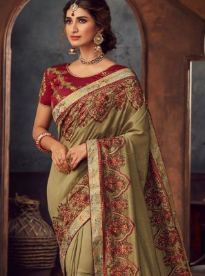 Embroidered Green Silk Saree