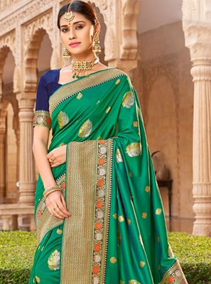 Embroidered Green Silk Traditional Saree