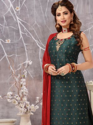 Embroidered Green Silk Trendy Salwar Kameez