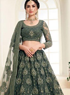 Embroidered Green Trendy A Line Lehenga Choli