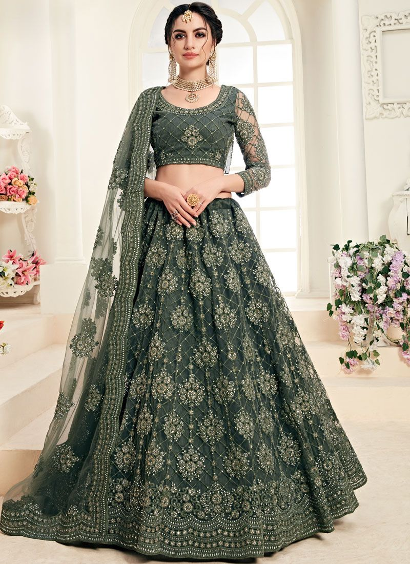 Embroidered Green Trendy A Line Lehenga Choli