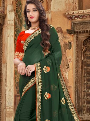 Embroidered Green Trendy Saree