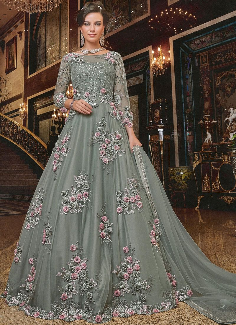 Embroidered Grey Anarkali Salwar Kameez