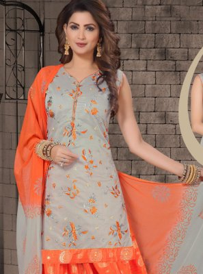 Embroidered Grey Chanderi Designer Salwar Kameez