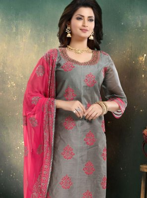 Embroidered Grey Chanderi Trendy Palazzo Salwar Kameez