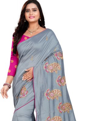 Embroidered Grey Classic Designer Saree