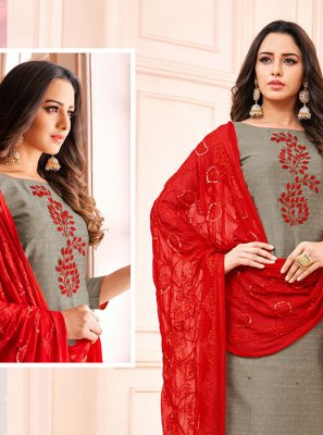 Embroidered Grey Cotton Churidar Salwar Kameez