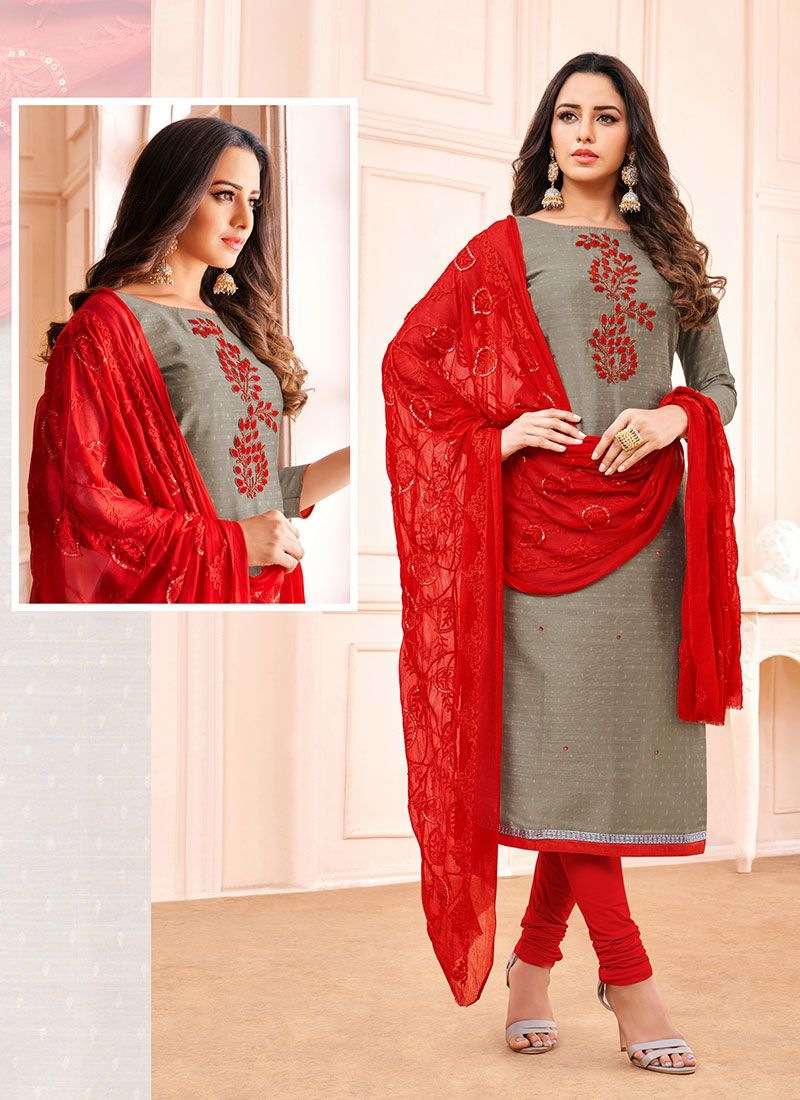 Embroidered Grey Cotton Churidar Salwar Kameez