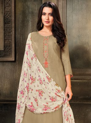 Embroidered Grey Cotton Churidar Salwar Suit