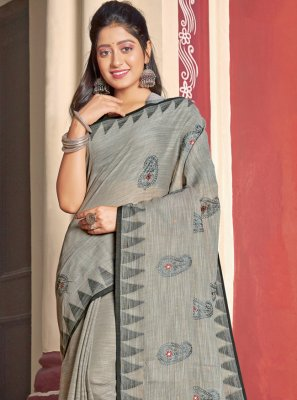 Embroidered Grey Cotton Trendy Saree
