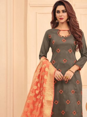 Embroidered Grey Designer Salwar Kameez