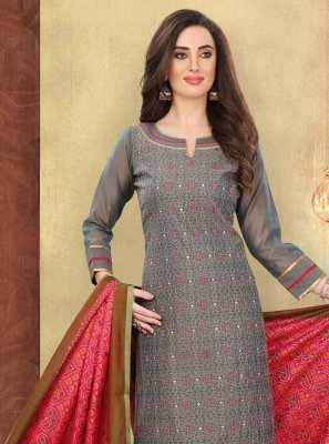 Embroidered Grey Designer Suit