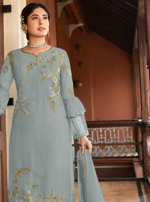 Embroidered Grey Georgette Salwar Kameez