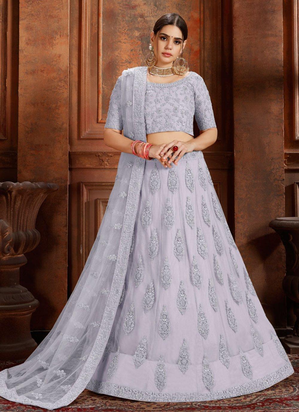 Embroidered Grey Net Designer Lehenga Choli