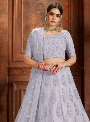 Embroidered Grey Net Designer Lehenga Choli