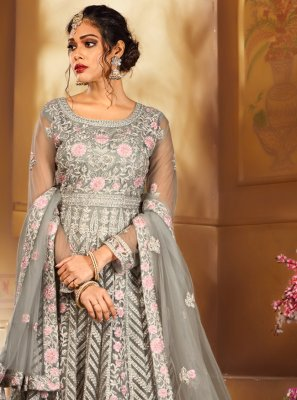 Embroidered Grey Net Salwar Suit