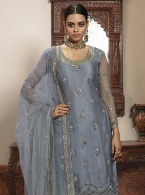 Embroidered Grey Net Trendy Salwar Kameez