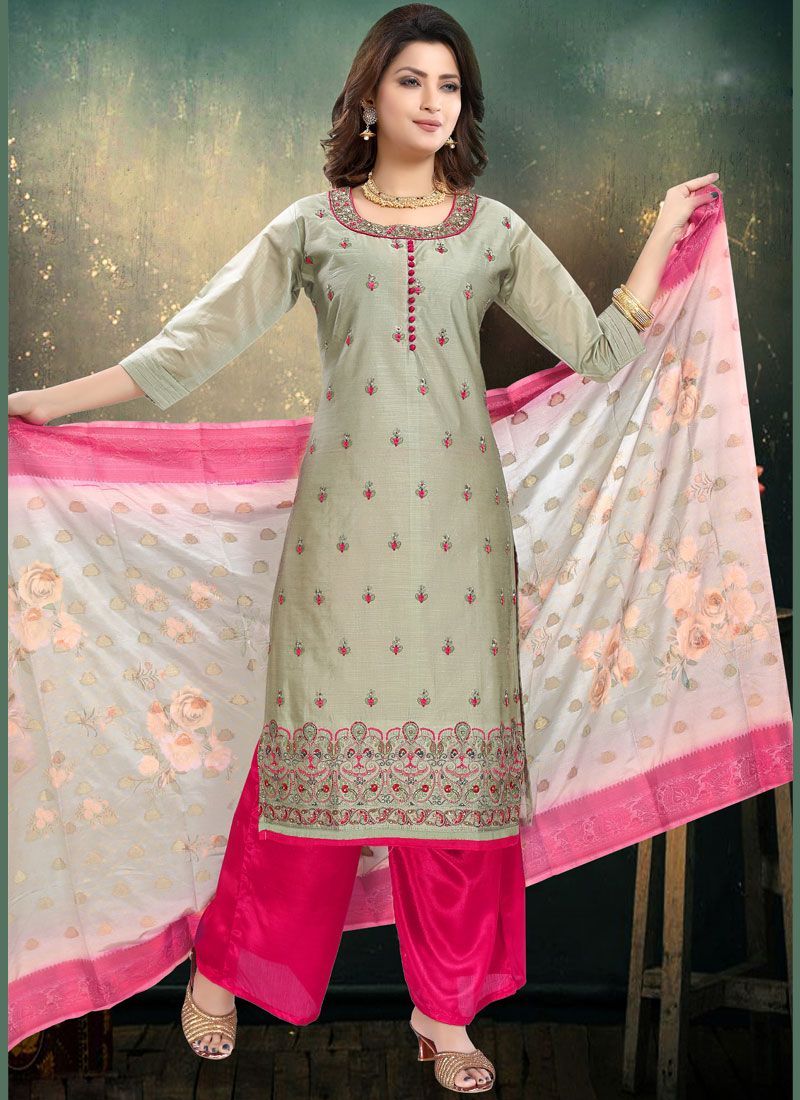 Embroidered Grey Palazzo Salwar Suit
