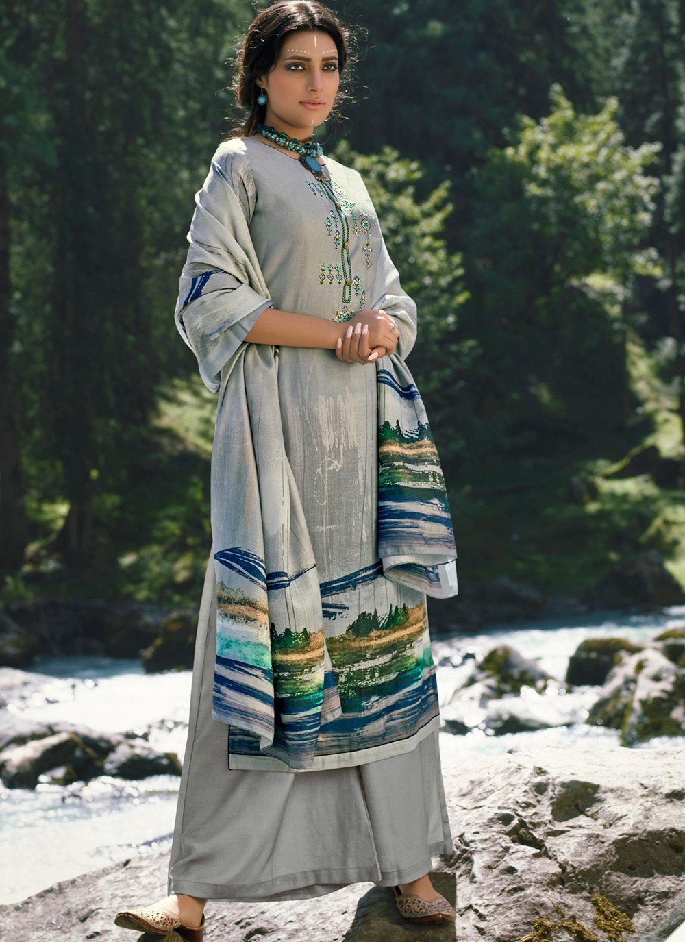Embroidered Grey Pashmina Designer Palazzo Suit