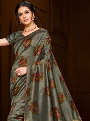Embroidered Grey Poly Silk Classic Saree