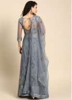 Embroidered Grey Satin Lehenga Choli
