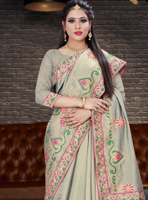 Embroidered Grey Silk Trendy Saree