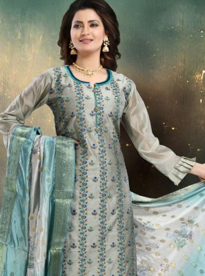 Embroidered Grey Trendy Palazzo Salwar Suit