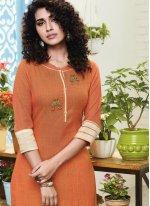 Embroidered Handloom silk Salwar Kameez in Orange