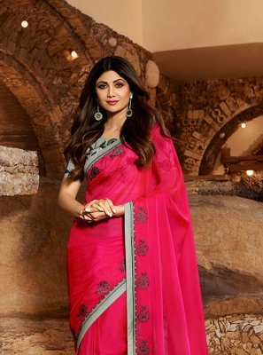 Embroidered Hot Pink Georgette Satin Designer Traditional Saree