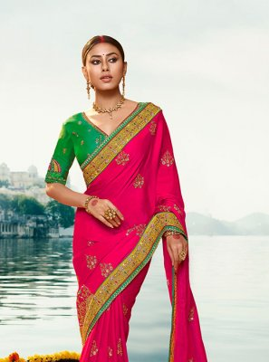 Embroidered Hot Pink Silk Classic Designer Saree