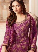 Embroidered Jacquard Designer Palazzo Salwar Kameez in Purple