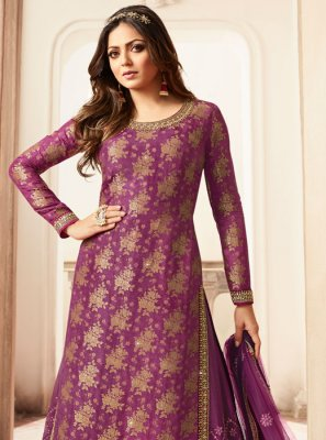 Embroidered Jacquard Designer Palazzo Salwar Kameez in Purple