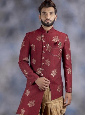 Embroidered Jacquard Indo Western in Maroon