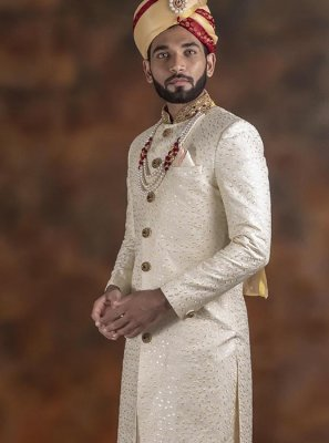 Embroidered Jacquard Indo Western in Off White