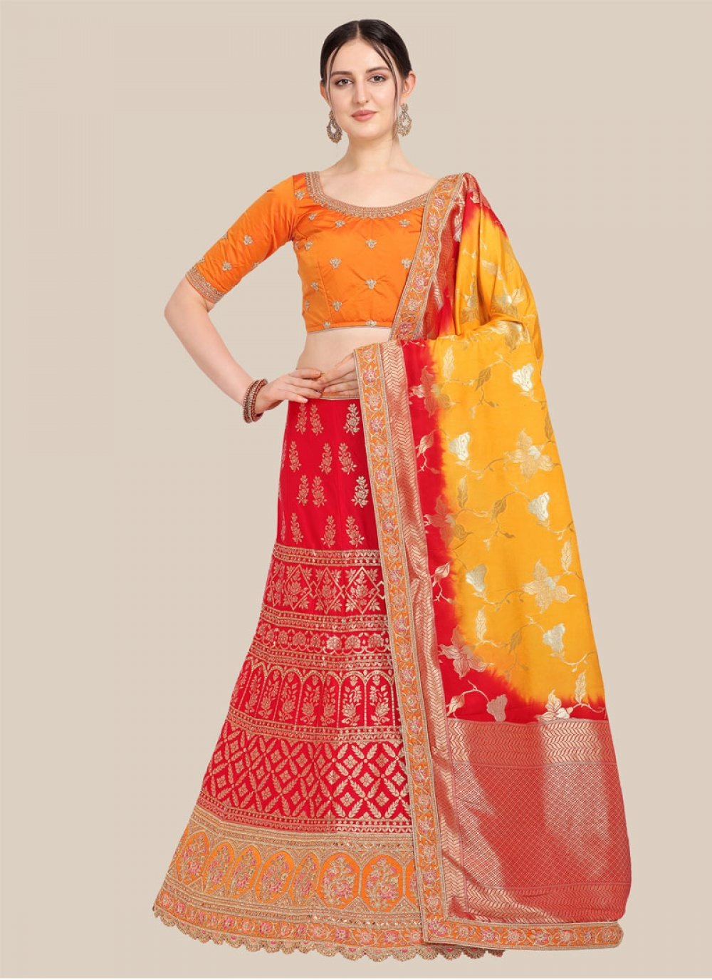 Embroidered Jacquard Lehenga Choli