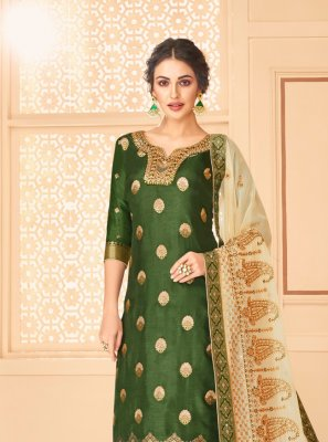 Embroidered Jacquard Palazzo Suit