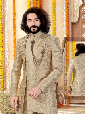 Embroidered Jacquard Sherwani in Gold