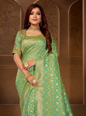 Embroidered Jacquard Silk Green Silk Saree