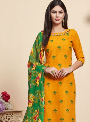 Embroidered Jacquard Yellow Salwar Suit