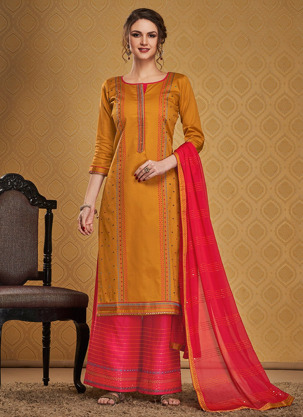 Embroidered Jamawar Silk Palazzo Suit in Mustard