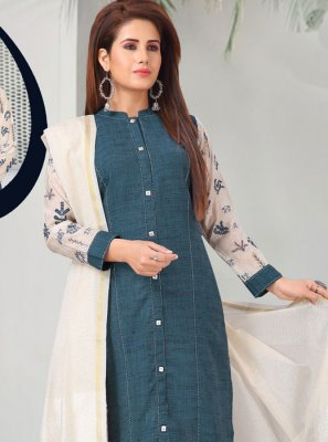 Embroidered Khadi Teal Pant Style Suit